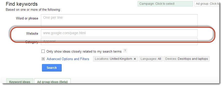 keywords based on web content